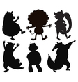 Silhouettes of different wild animals vector image vector image