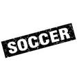 square grunge black soccer stamp vector image vector image
