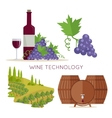 Wine Technology Bottle of Vine Beaker Vineyard vector image vector image