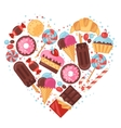 Background with colorful various candy sweets and vector image