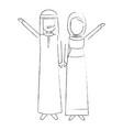 muslim couple avatars characters vector image