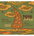 Retro greeting card 2016 with Christmas tree vector image