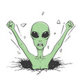 angry alien knock wall out space vector image vector image