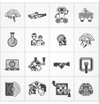 Artificial Intelligence Black White Icons Set vector image vector image