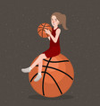 basket ball hold by beautifull girl woman sport vector image vector image
