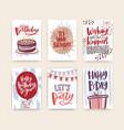 bundle birthday greeting card postcard or vector image vector image