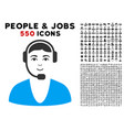 call center guy icon with bonus vector image vector image
