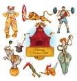 Circus vintage colored icons set vector image vector image