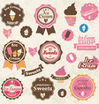 Collection of vintage retro ice cream and bakery vector image
