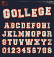 college alphabet font template vector image vector image