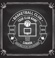college basketball club badge on chalkboard vector image vector image