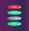 colorful oval options panel isolated set vector image vector image