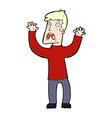 comic cartoon frightened man vector image vector image