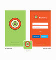 company dart game splash screen and login page vector image vector image