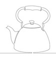 continuous single drawn one line kettle picture vector image vector image