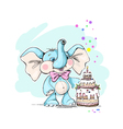 Cute and funny baby elephant and cake vector image