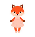 cute fox in dress in modern flat style vector image