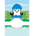 cute penguin baby shower card vector image vector image
