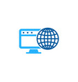 desktop globe logo icon design vector image