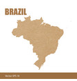detailed map of brazil cut out of craft paper vector image