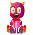 devil with presents on white background vector image vector image