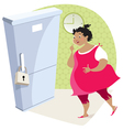 Dieting lady and fridge vector image vector image
