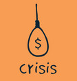 gibbet money crisis icon flat cartoon gibbet icon vector image vector image