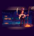 girl pirate on night beach cartoon landing page vector image vector image