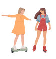 girls ride on self-balancing scooter roller vector image vector image