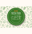 green organic food label on vegetable background vector image vector image