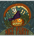 halloween banner or greeting card design with a vector image vector image