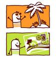 hand drawn cartoon characters - exotic island vector image
