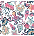 hand drawn seamless pattern with jellyfish vector image vector image