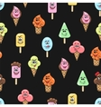 Kawaii ice cream seamless pattern vector image vector image