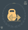 kettlebell and barbell icon vector image vector image