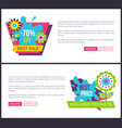 landing pages sale 70 off web advertisement spring vector image vector image