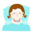 little sick girl in bed cartoon vector image vector image
