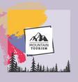 logo mountain tourism coniferous forest vector image