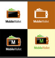mobile wallet logo and icon vector image vector image