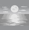 monochrome moon night sea vector image