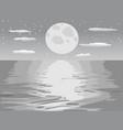 monochrome moon night sea vector image vector image