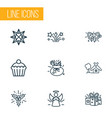new icons line style set with fireworks angel vector image
