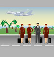 pilot and stewardesses characters in uniform vector image vector image