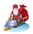 Santa goes on a snowmobile it is lucky people vector image vector image