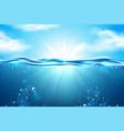 sea underwater sunbeam blue sky clouds vector image