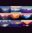 set cartoon mountain landscapes design vector image