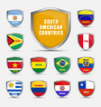 set shields with flags south american vector image