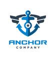 ship anchor shield logo design vector image vector image