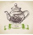 Tea vintage background Hand drawn sketch Menu des vector image