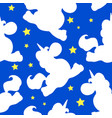 white unicorn pattern on blue vector image vector image